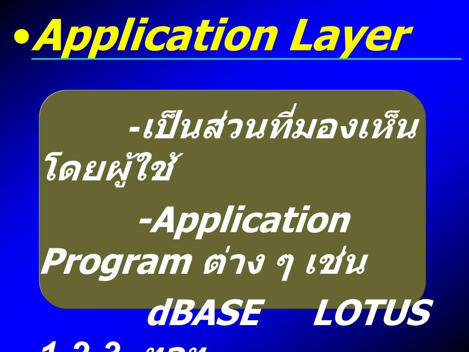 Application Layer -เป็นส่วนที่มองเห็นโดยผู้ใช้