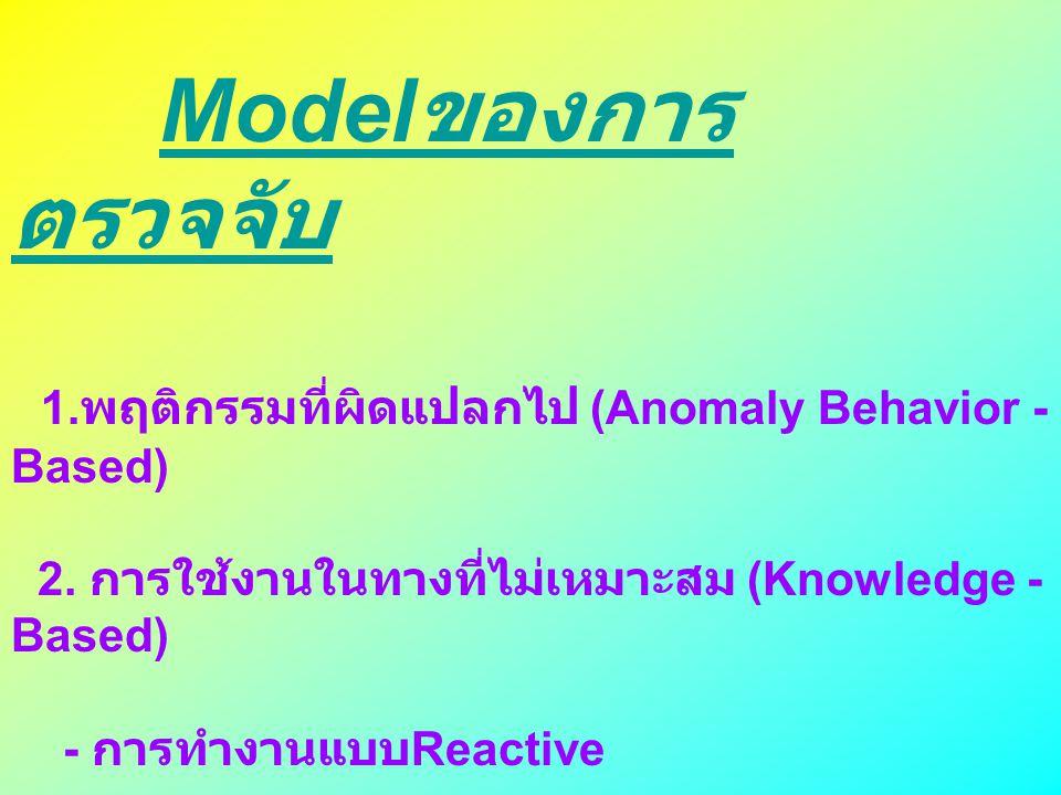 1.พฤติกรรมที่ผิดแปลกไป (Anomaly Behavior - Based)
