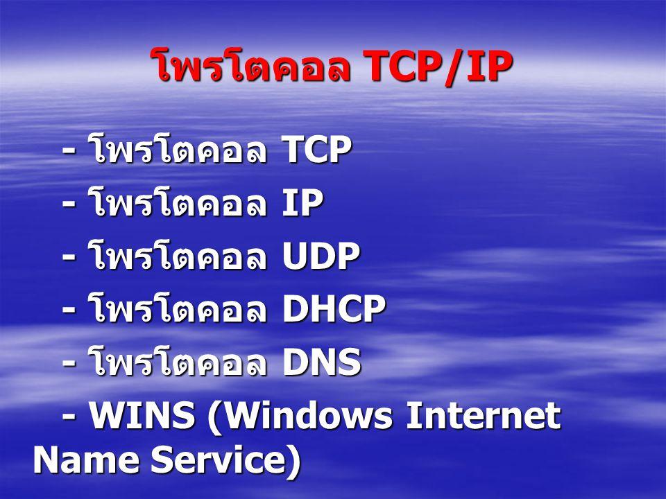 โพรโตคอล TCP/IP - โพรโตคอล TCP - โพรโตคอล IP - โพรโตคอล UDP