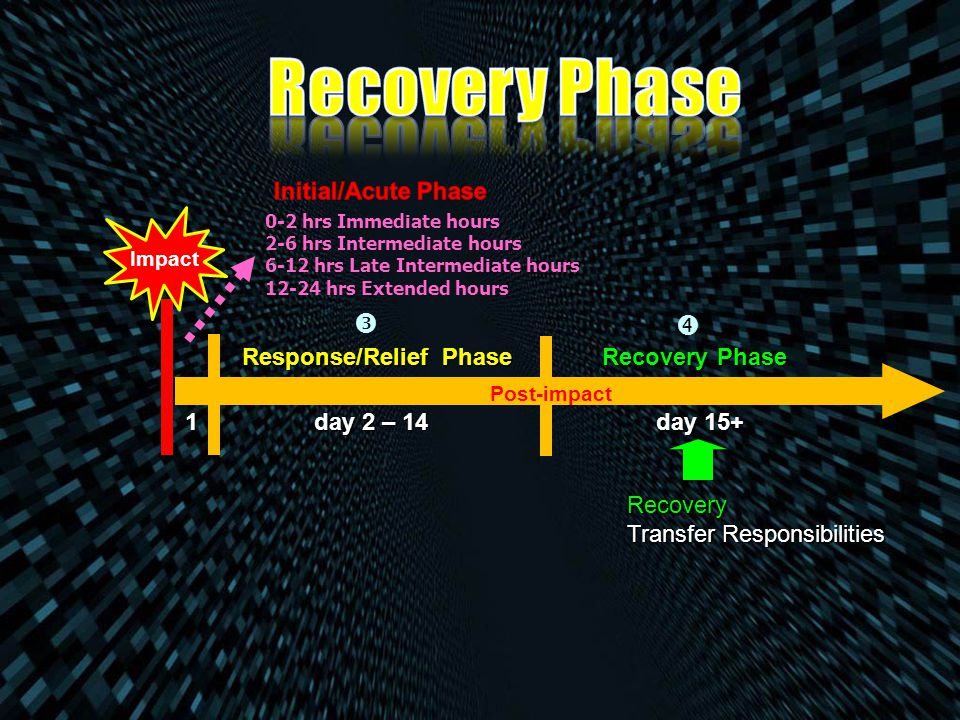 Recovery Phase   Initial/Acute Phase Response/Relief Phase