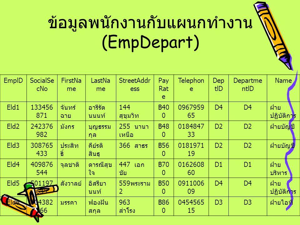 ข้อมูลพนักงานกับแผนกทำงาน (EmpDepart)