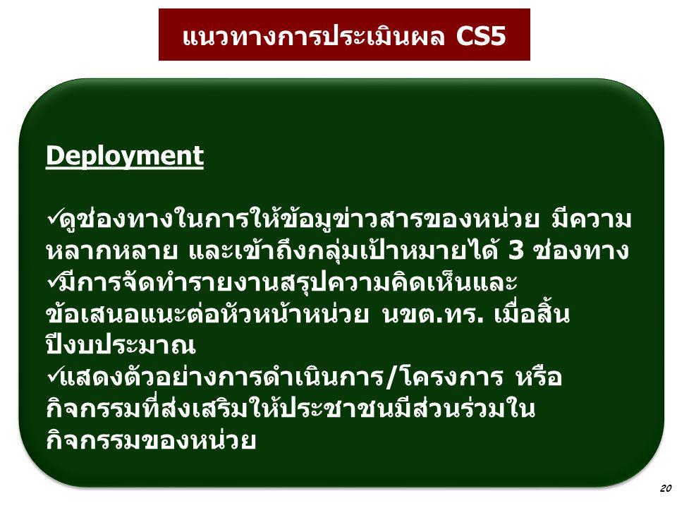 แนวทางการประเมินผล CS5