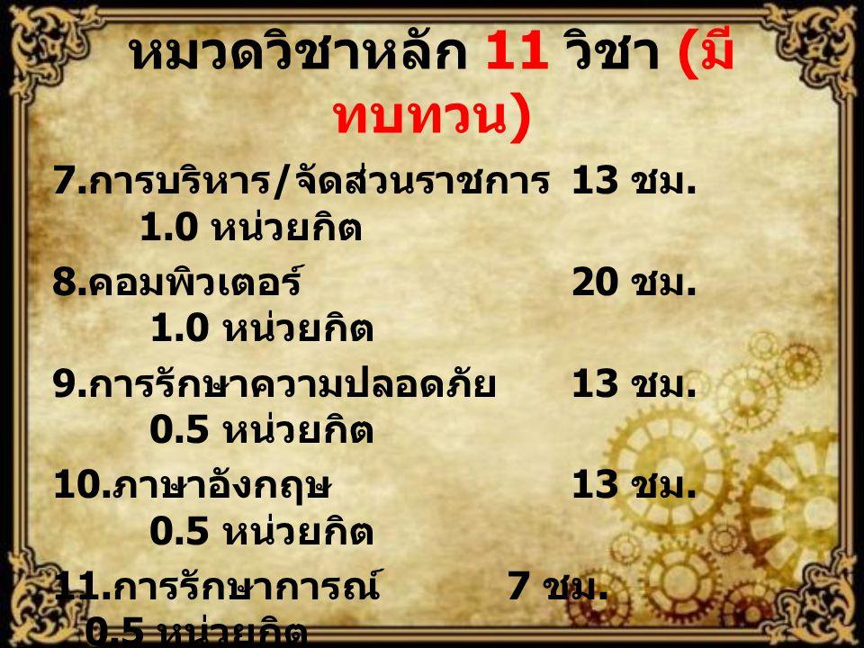 หมวดวิชาหลัก 11 วิชา (มีทบทวน)