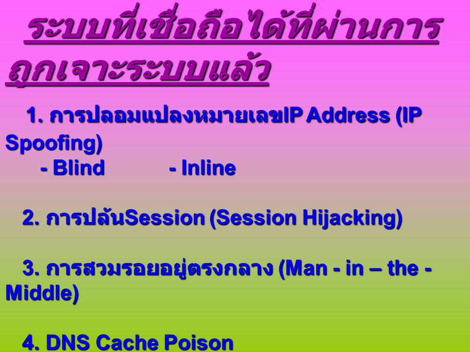 1. การปลอมแปลงหมายเลขIP Address (IP Spoofing)