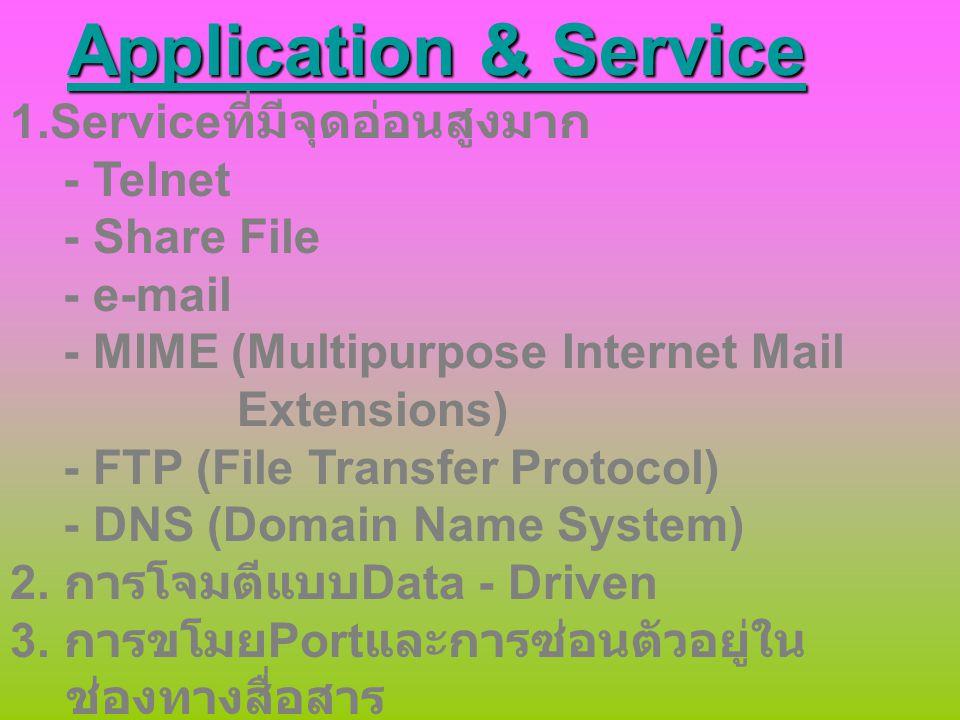 Application & Service 1.Serviceที่มีจุดอ่อนสูงมาก - Telnet
