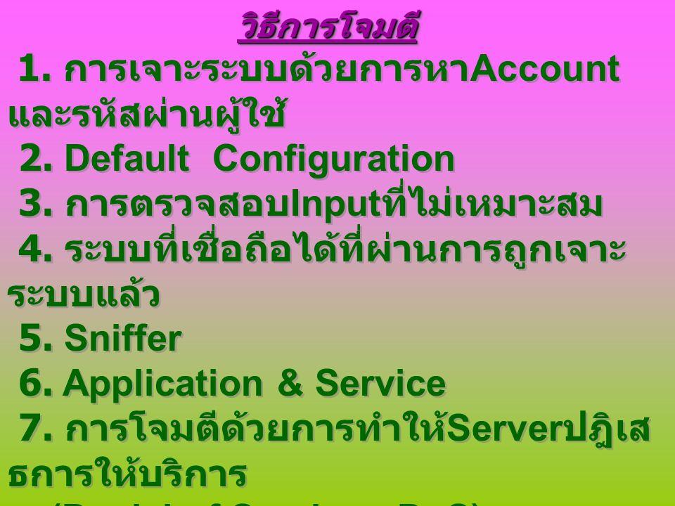 2. Default Configuration 3. การตรวจสอบInputที่ไม่เหมาะสม