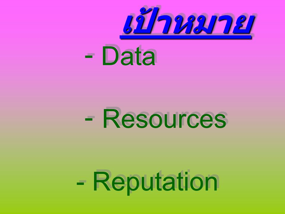 เป้าหมาย - Data - Resources - Reputation