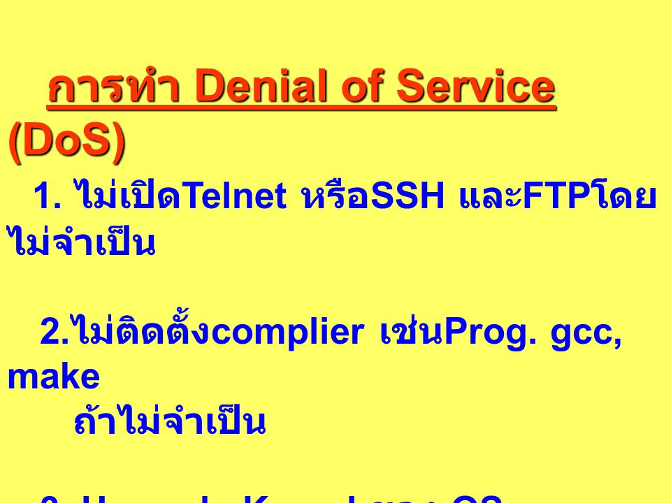 การทำ Denial of Service (DoS)