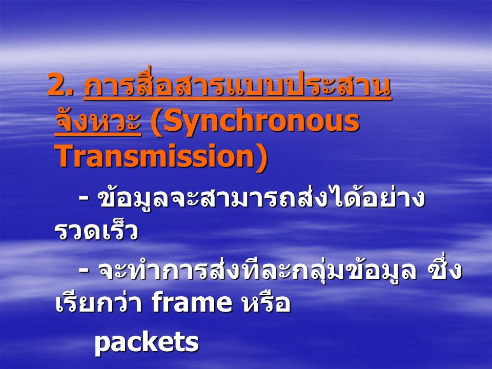 2. การสื่อสารแบบประสานจังหวะ (Synchronous Transmission)