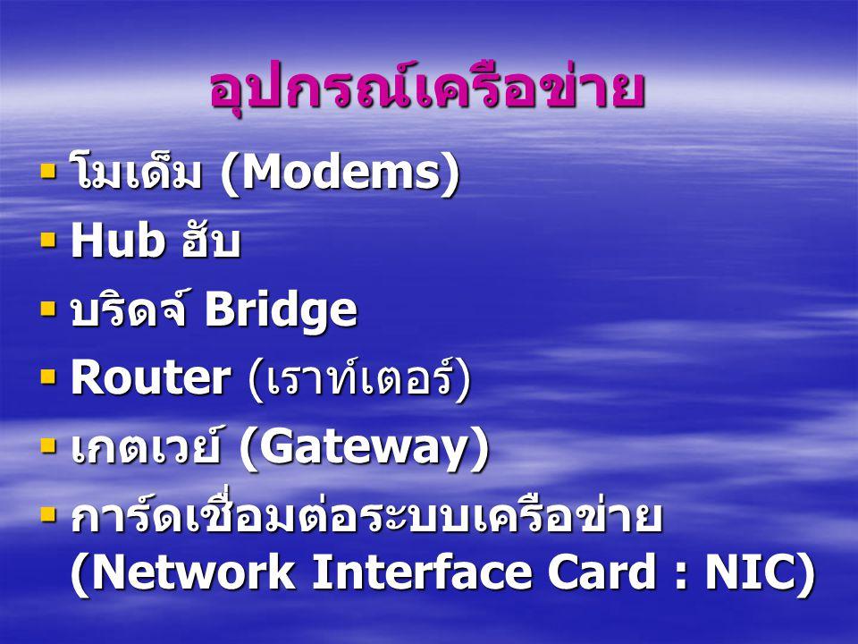 อุปกรณ์เครือข่าย โมเด็ม (Modems) Hub ฮับ บริดจ์ Bridge
