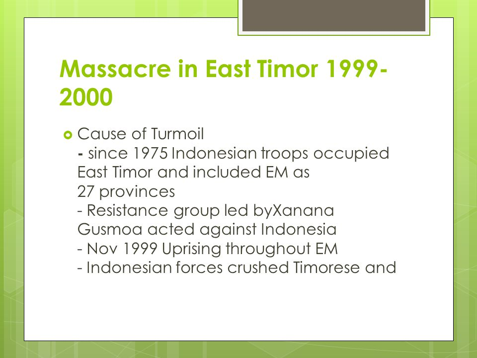 Massacre in East Timor 1999-2000