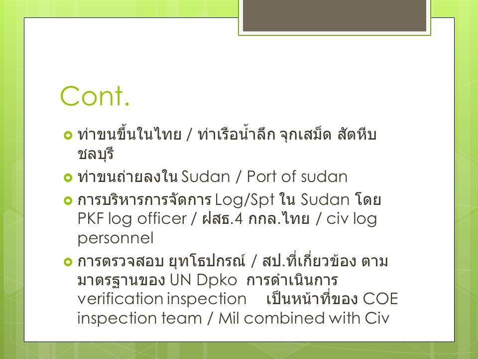 Cont. ท่าขนขึ้นในไทย / ท่าเรือน้ำลึก จุกเสม็ด สัตหีบ ชลบุรี