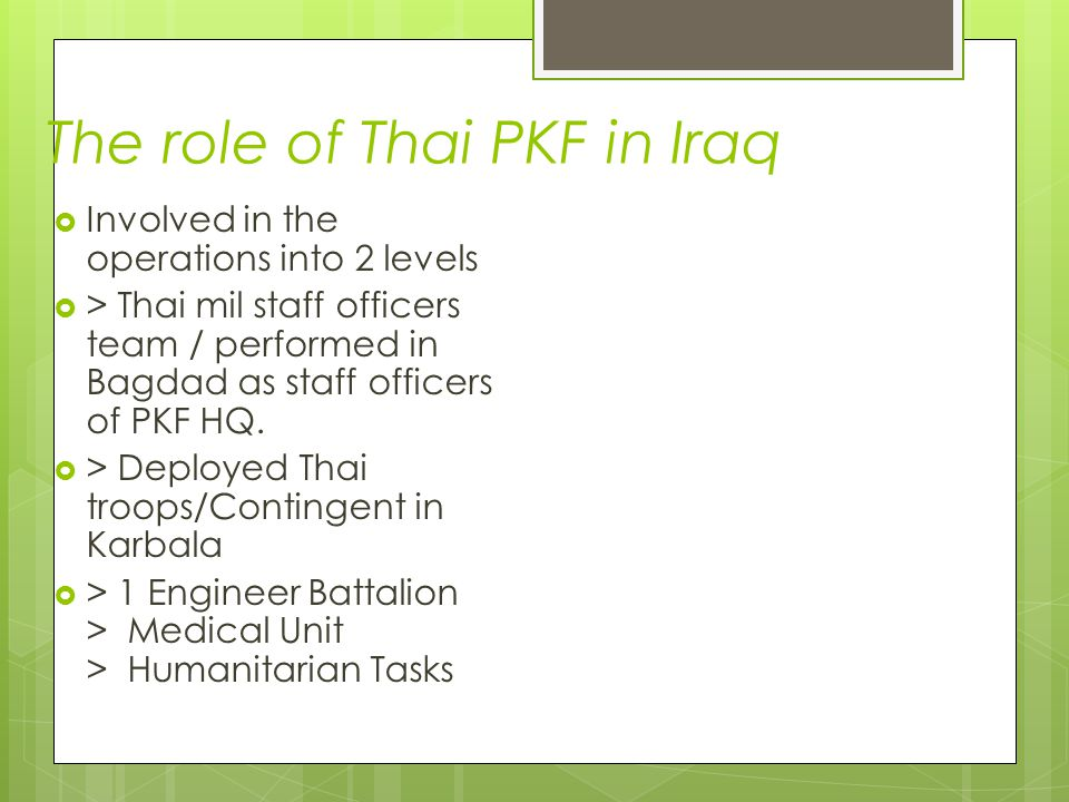 The role of Thai PKF in Iraq