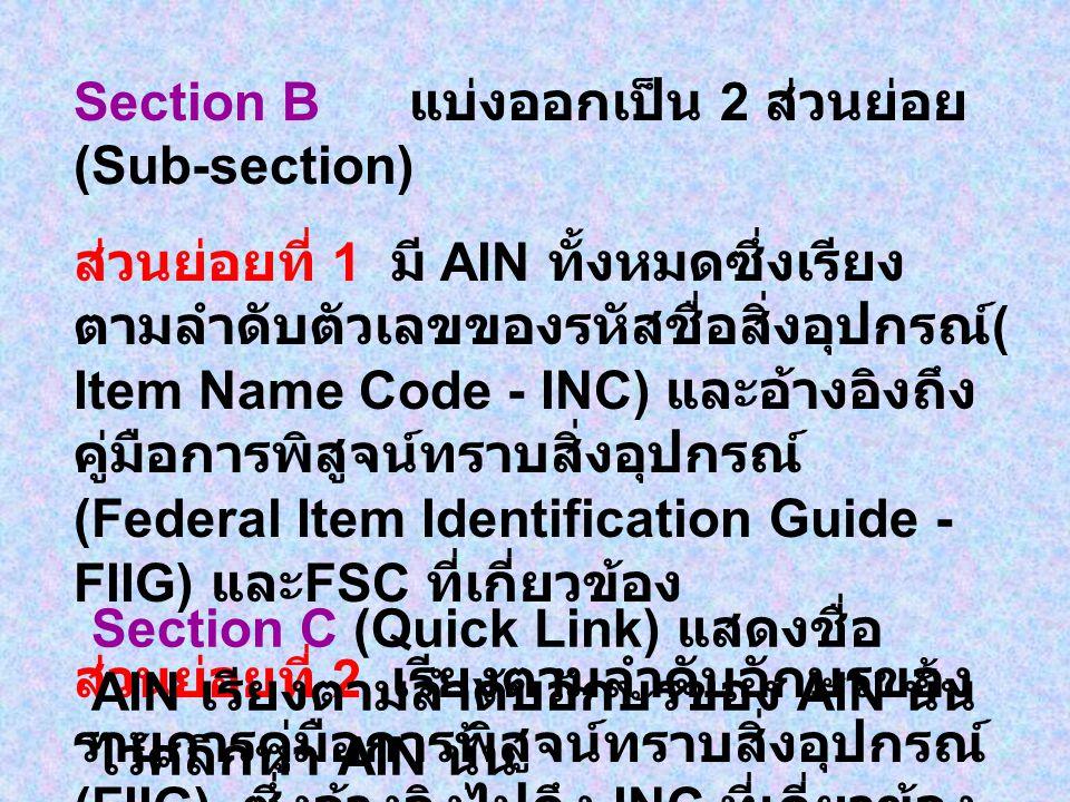 Section B แบ่งออกเป็น 2 ส่วนย่อย (Sub-section)
