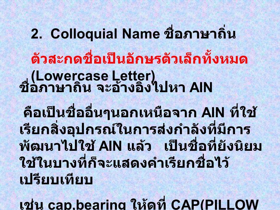 2. Colloquial Name ชื่อภาษาถิ่น
