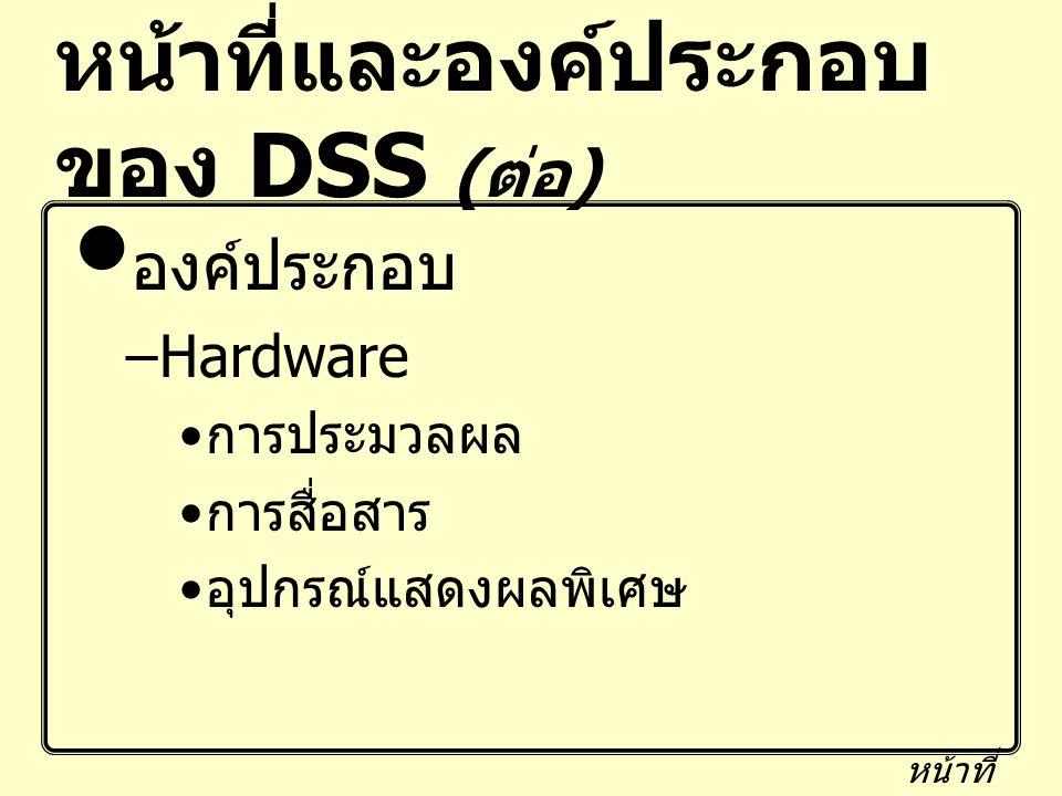 หน้าที่และองค์ประกอบของ DSS (ต่อ)