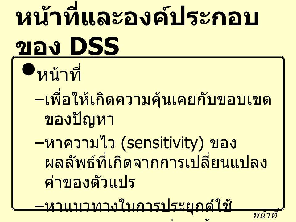 หน้าที่และองค์ประกอบของ DSS