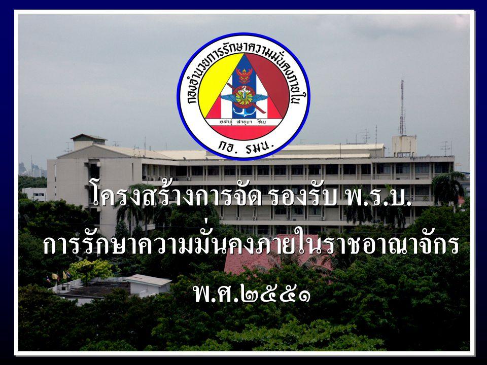 โครงสร้างการจัด รองรับ พ.ร.บ. การรักษาความมั่นคงภายในราชอาณาจักร