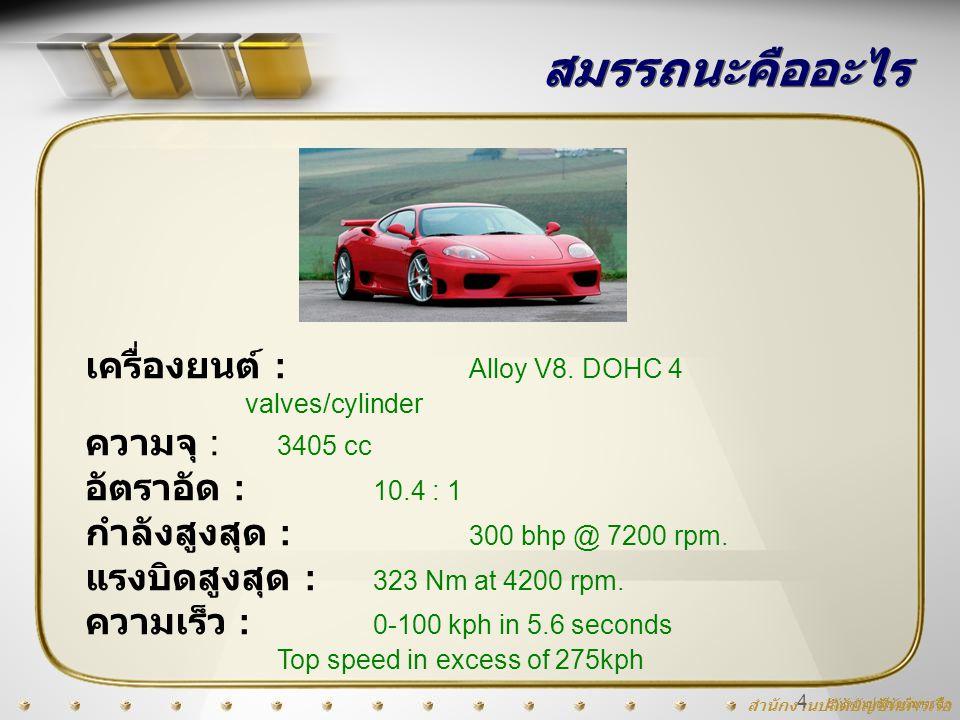 สมรรถนะคืออะไร เครื่องยนต์ : Alloy V8. DOHC 4 valves/cylinder