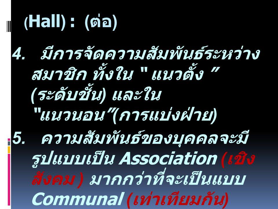 (Hall) : (ต่อ)