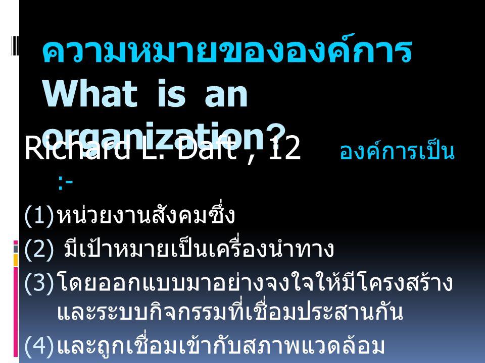 ความหมายขององค์การ What is an organization