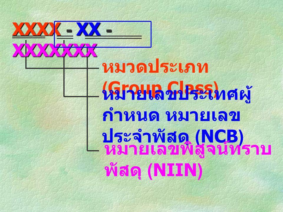 XXXX - XX - XXXXXXX หมวดประเภท (Group Class) หมายเลขประเทศผู้กำหนด หมายเลขประจำพัสดุ (NCB) หมายเลขพิสูจน์ทราบพัสดุ (NIIN)