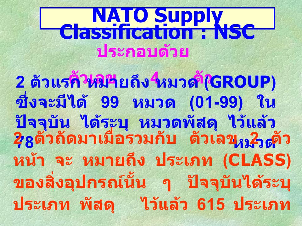 NATO Supply Classification : NSC