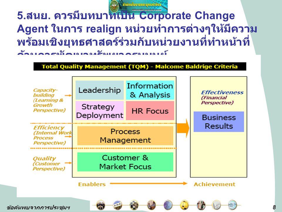 5.สนย. ควรมีบทบาทเป็น Corporate Change Agent ในการ realign หน่วยทำการต่างๆให้มีความพร้อมเชิงยุทธศาสตร์ร่วมกับหน่วยงานที่ทำหน้าที่ด้านการพัฒนาทรัพยากรมนุษย์