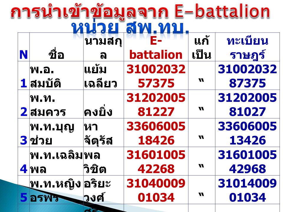 การนำเข้าข้อมูลจาก E-battalion