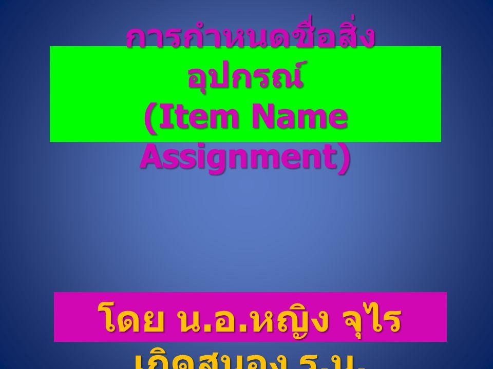 การกำหนดชื่อสิ่งอุปกรณ์ (Item Name Assignment)