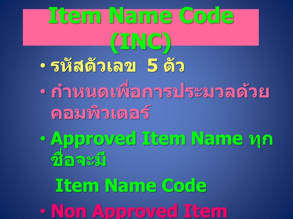 Item Name Code (INC) รหัสตัวเลข 5 ตัว