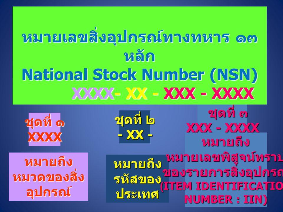 หมายเลขสิ่งอุปกรณ์ทางทหาร ๑๓ หลัก National Stock Number (NSN)