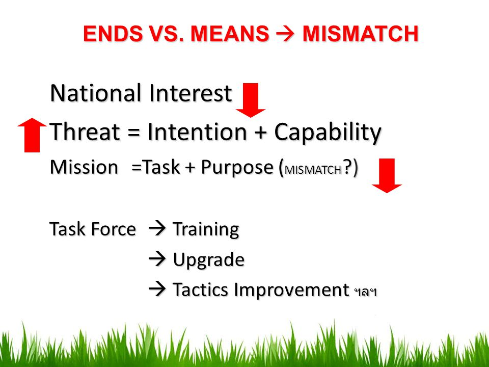 ENDS VS. MEANS  MISMATCH