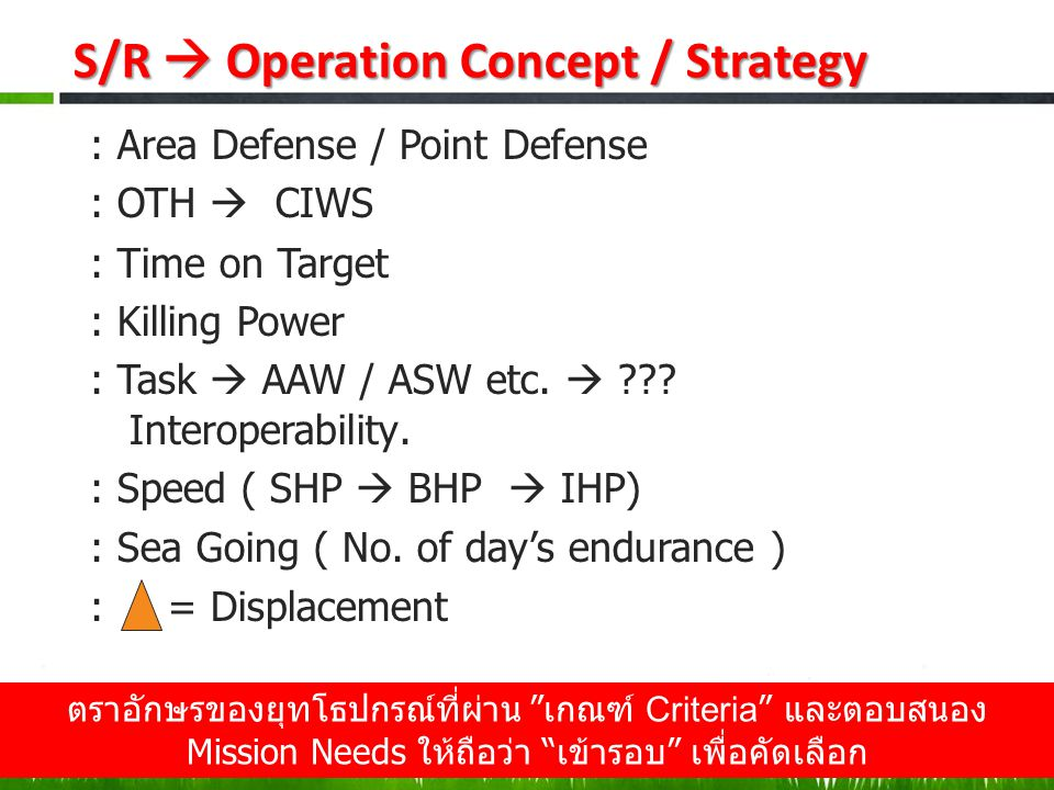 S/R  Operation Concept / Strategy