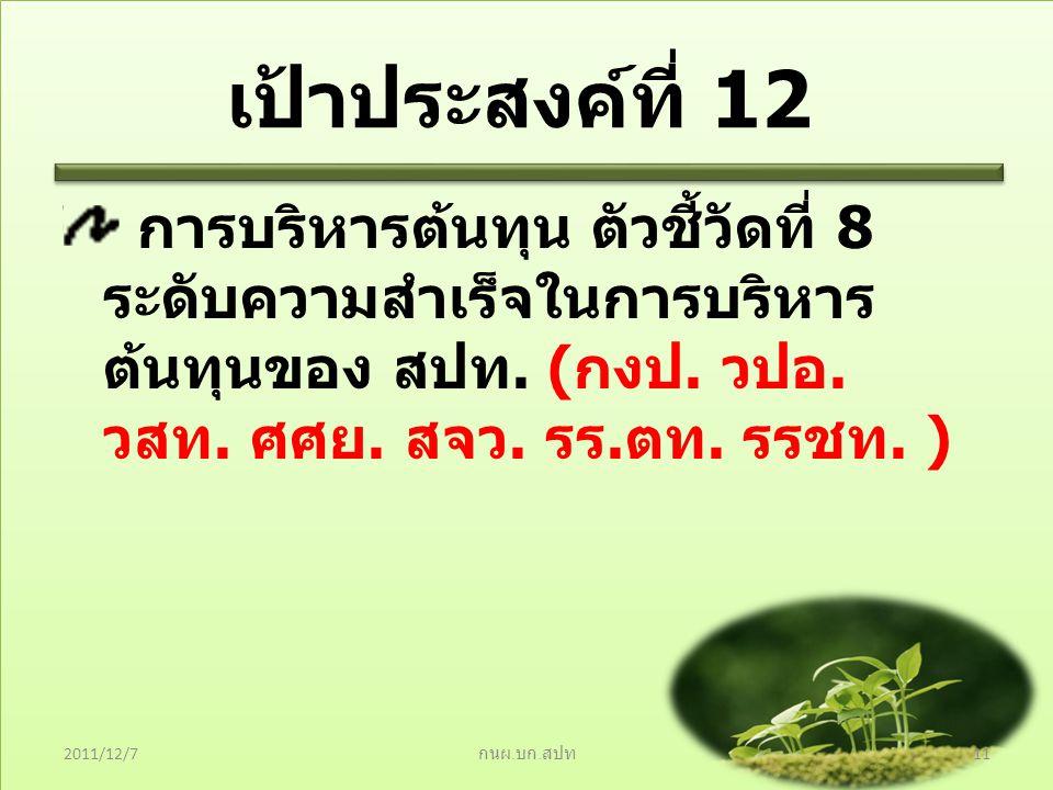 เป้าประสงค์ที่ 12 การบริหารต้นทุน ตัวชี้วัดที่ 8 ระดับความสำเร็จในการบริหารต้นทุนของ สปท. (กงป. วปอ. วสท. ศศย. สจว. รร.ตท. รรชท. )
