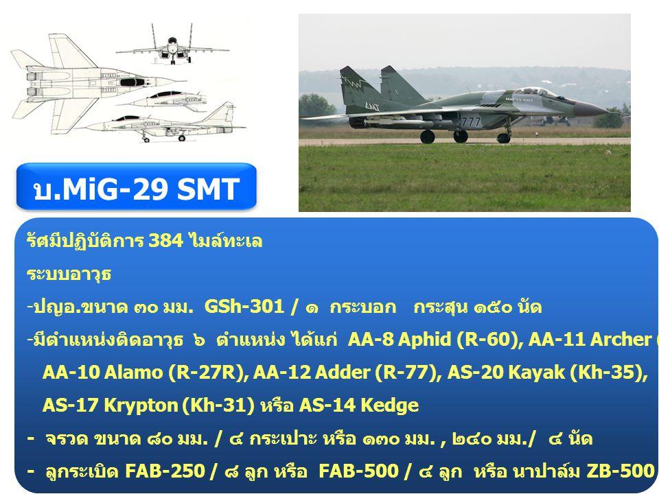 บ.MiG-29 SMT รัศมีปฏิบัติการ 384 ไมล์ทะเล ระบบอาวุธ