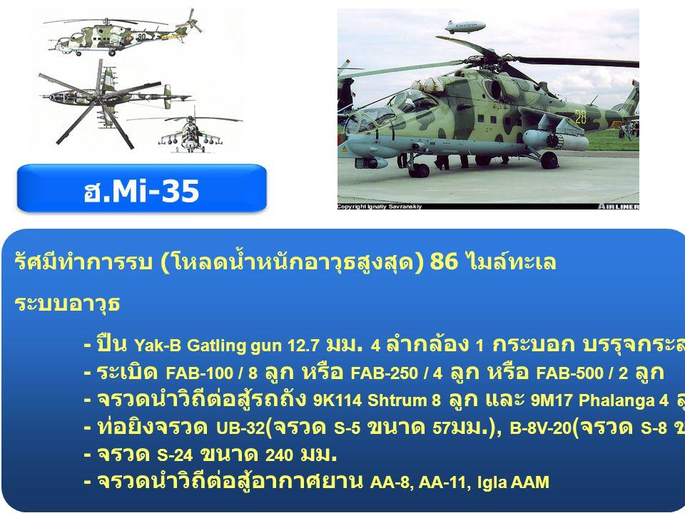 ฮ.Mi-35 รัศมีทำการรบ (โหลดน้ำหนักอาวุธสูงสุด) 86 ไมล์ทะเล ระบบอาวุธ