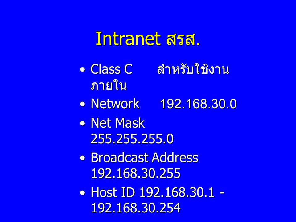 Intranet สรส. Class C สำหรับใช้งานภายใน Network 192.168.30.0
