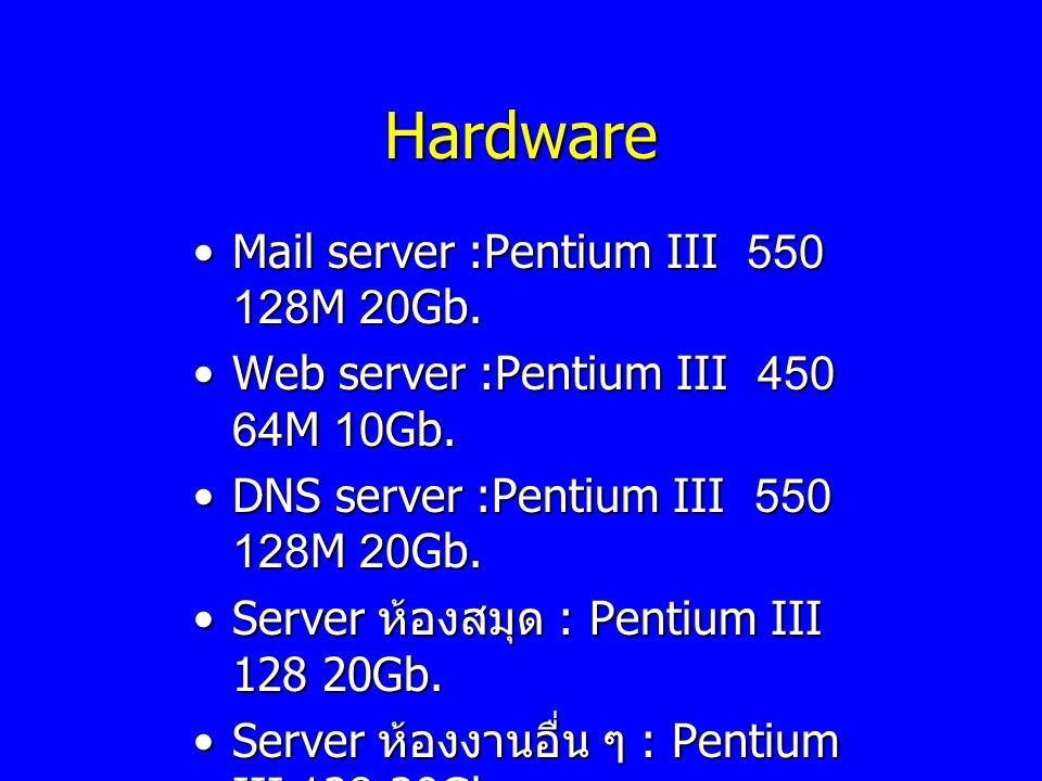 Hardware Mail server :Pentium III 550 128M 20Gb.