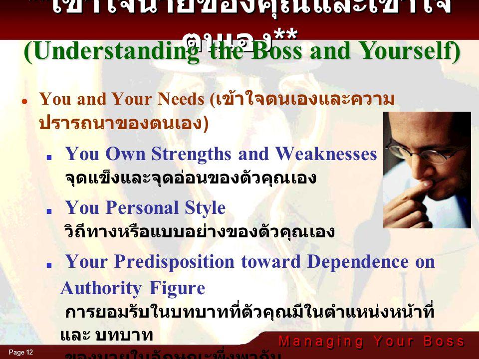 **เข้าใจนายของคุณและเข้าใจตนเอง**