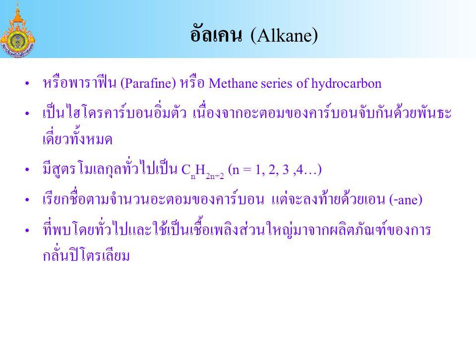 อัลเคน (Alkane) หรือพาราฟีน (Parafine) หรือ Methane series of hydrocarbon.
