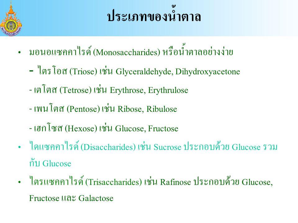 ประเภทของน้ำตาล มอนอแซคคาไรด์ (Monosaccharides) หรือน้ำตาลอย่างง่าย
