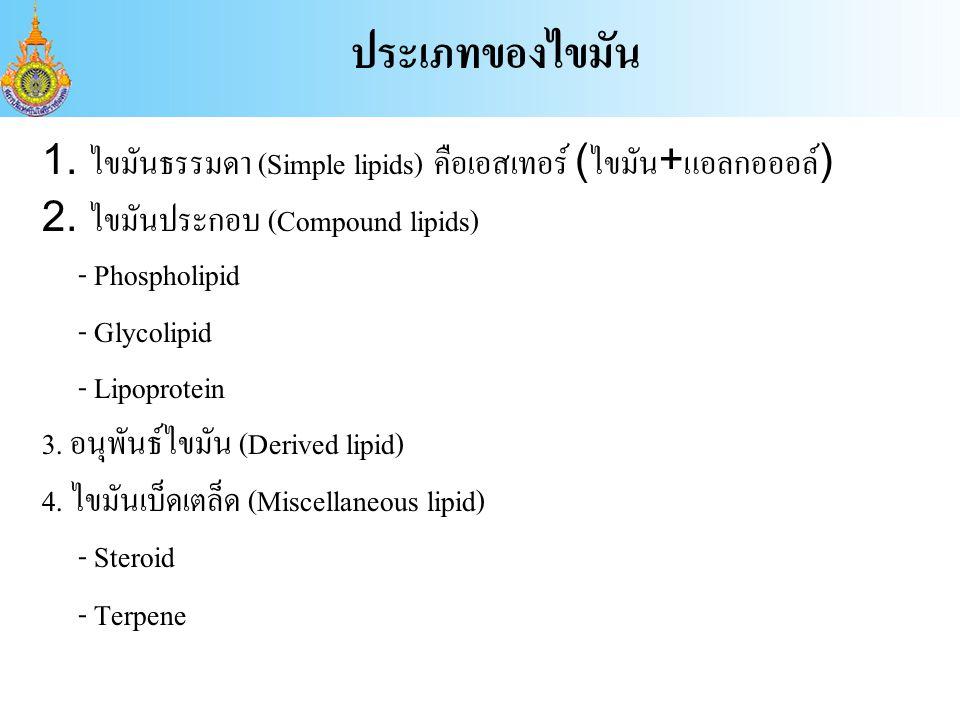ประเภทของไขมัน 1. ไขมันธรรมดา (Simple lipids) คือเอสเทอร์ (ไขมัน+แอลกอออล์) 2. ไขมันประกอบ (Compound lipids)
