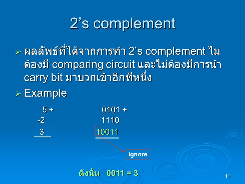 2's complement ผลลัพธ์ที่ได้จากการทำ 2's complement ไม่ต้องมี comparing circuit และไม่ต้องมีการนำ carry bit มาบวกเข้าอีกทีหนึ่ง.
