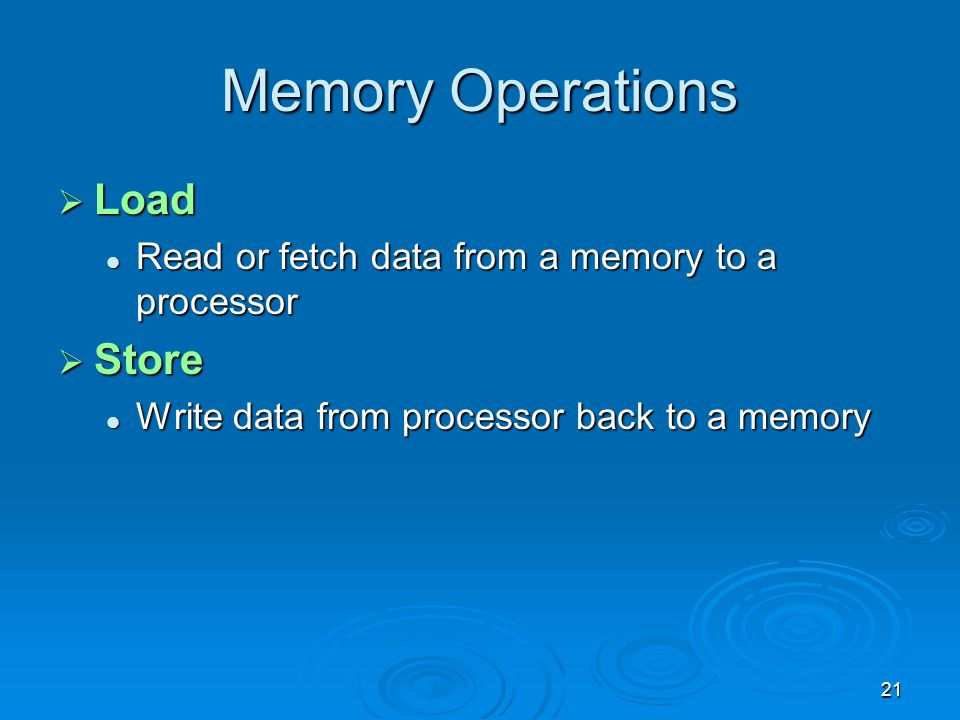 Memory Operations Load Store