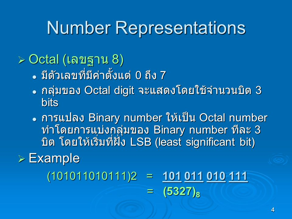 Number Representations