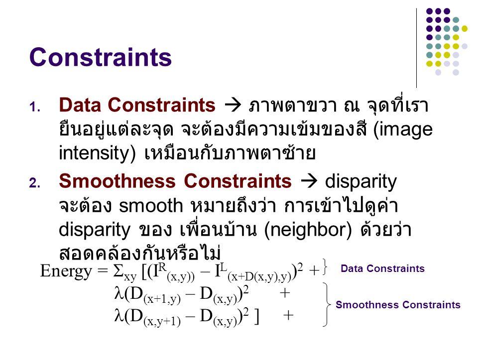 Constraints Data Constraints  ภาพตาขวา ณ จุดที่เรายืนอยู่แต่ละจุด จะต้องมีความเข้มของสี (image intensity) เหมือนกับภาพตาซ้าย.