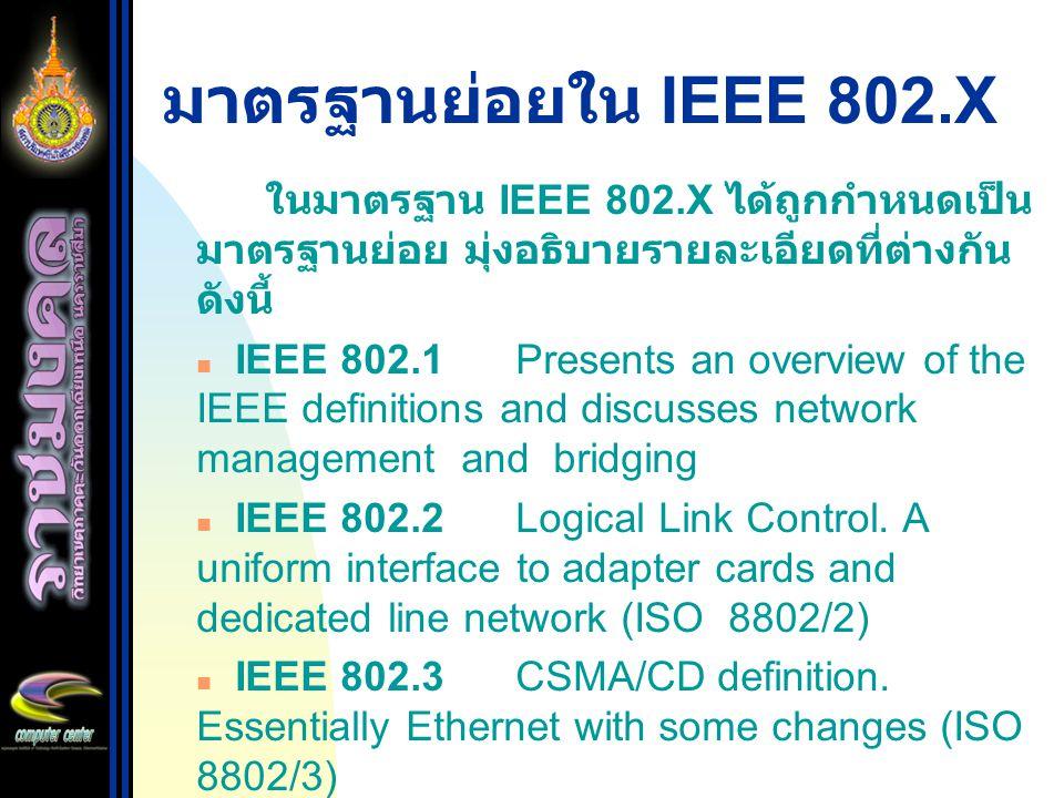 มาตรฐานย่อยใน IEEE 802.X ในมาตรฐาน IEEE 802.X ได้ถูกกำหนดเป็นมาตรฐานย่อย มุ่งอธิบายรายละเอียดที่ต่างกัน ดังนี้
