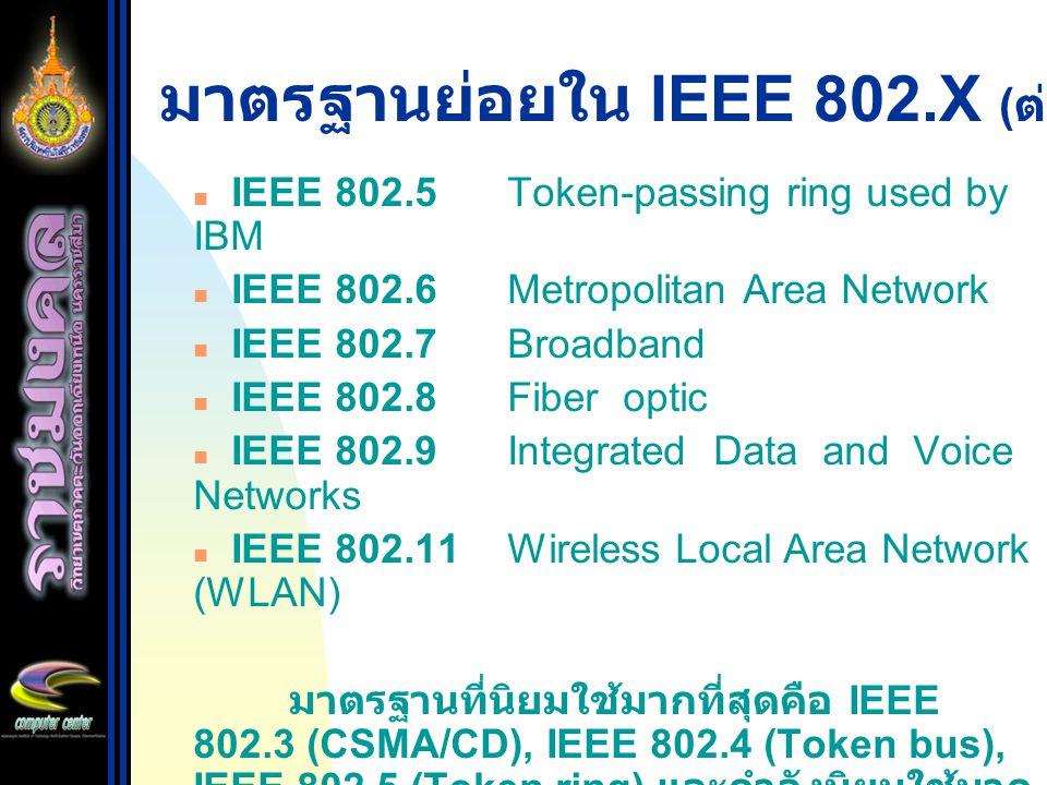 มาตรฐานย่อยใน IEEE 802.X (ต่อ)