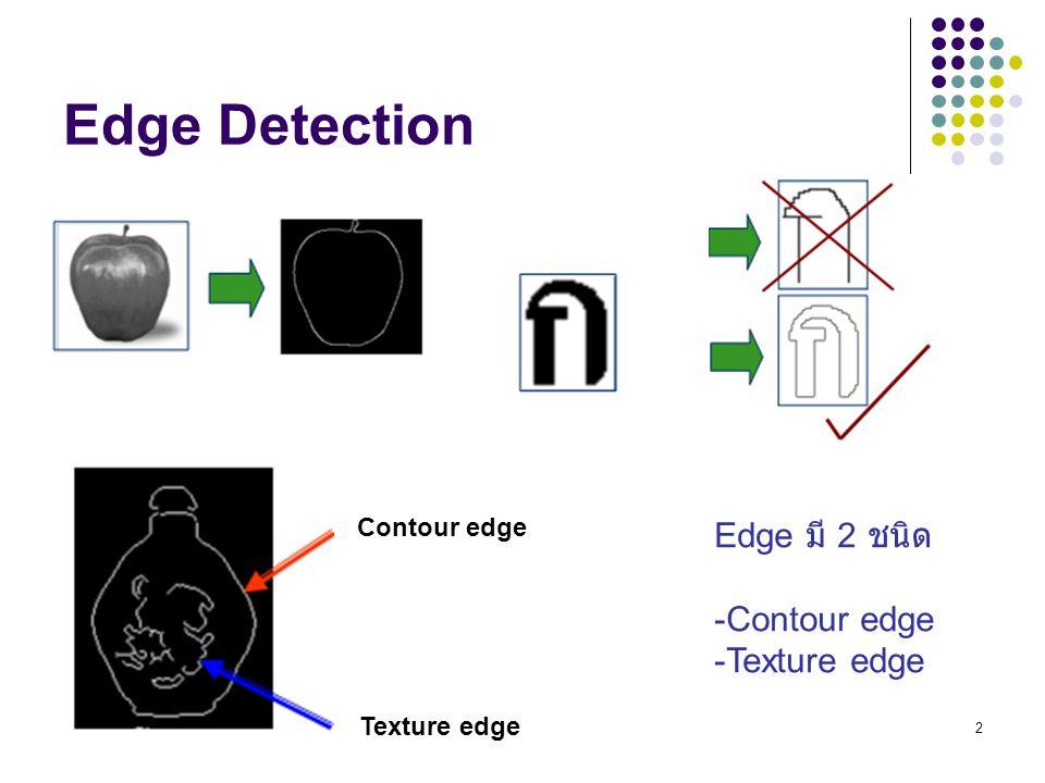 Edge Detection Edge มี 2 ชนิด Contour edge Texture edge Contour edge
